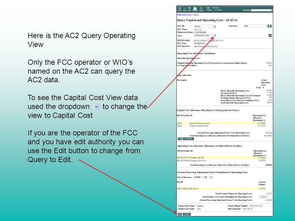 Here is the AC2 Query Operating View