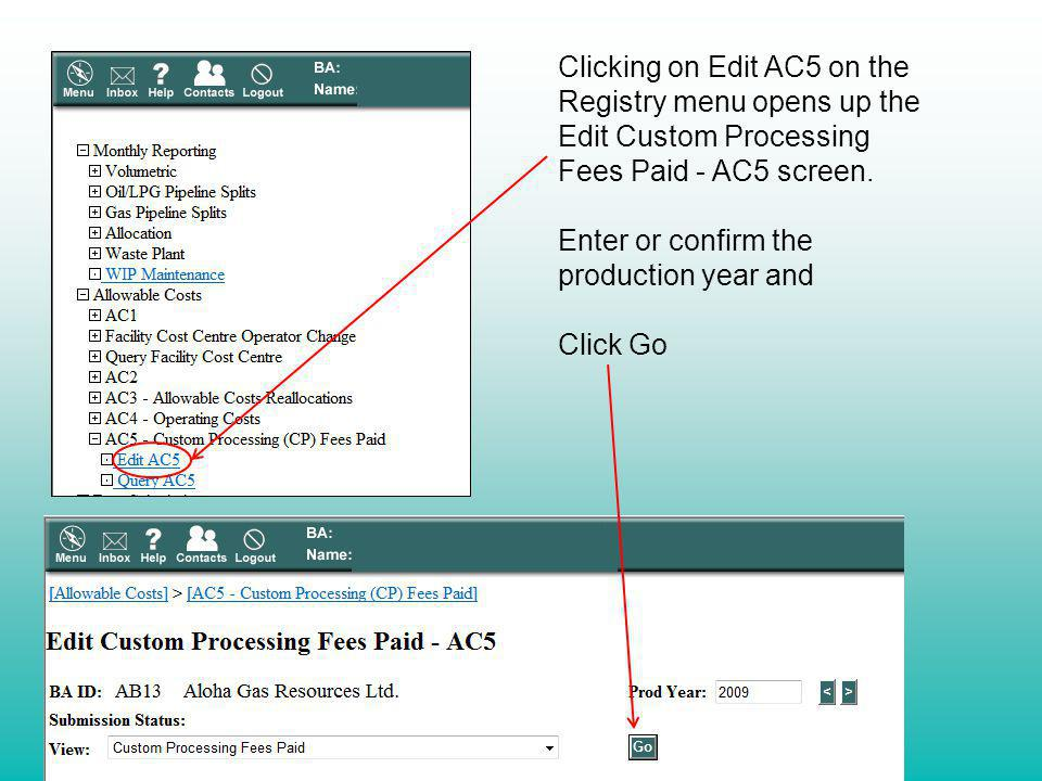 Clicking on Edit AC5 on the Registry menu opens up the Edit Custom Processing Fees Paid - AC5 screen.