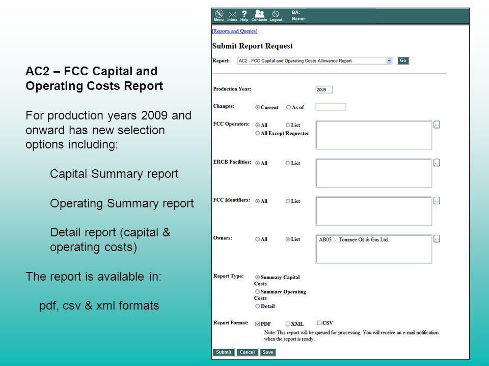AC2 – FCC Capital and Operating Costs Report