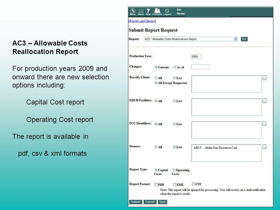 AC3 – Allowable Costs Reallocation Report