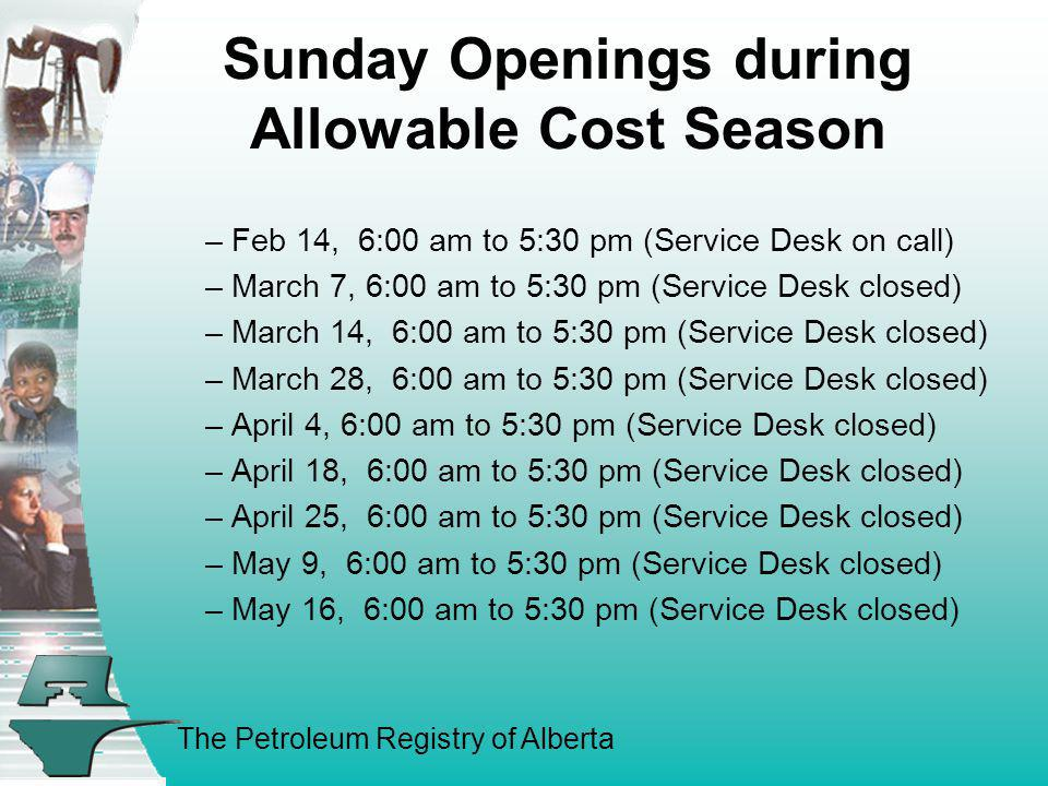 Sunday Openings during Allowable Cost Season