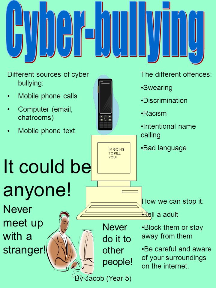 It could be anyone! Cyber-bullying Never meet up with a stranger!