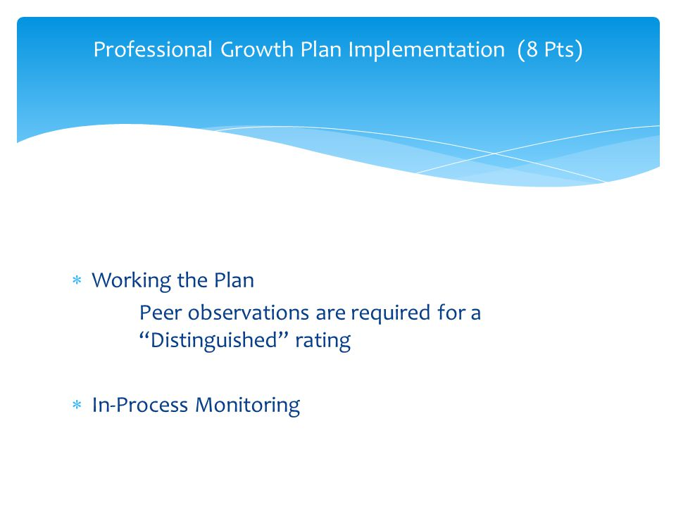 Professional Growth Plan Implementation (8 Pts) Professional Growth Plan Ientation (8 Pts)