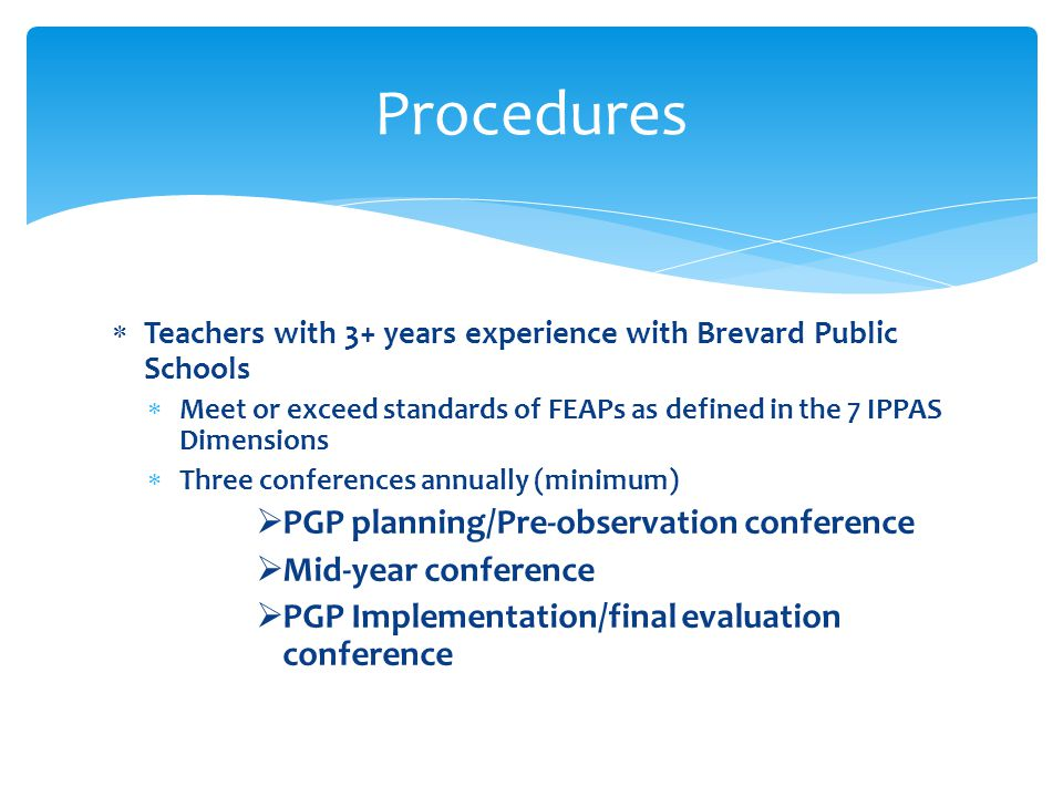 Procedures PGP planning/Pre-observation conference Mid-year conference