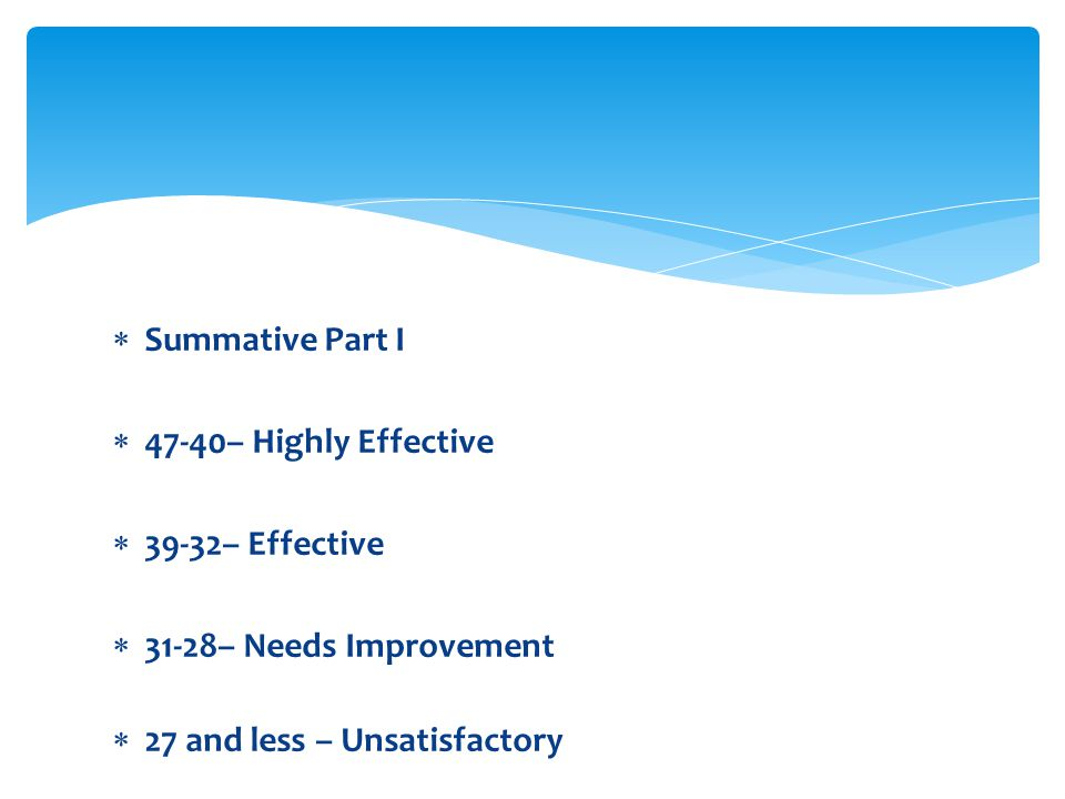 Summative Part I 47-40– Highly Effective. 39-32– Effective.