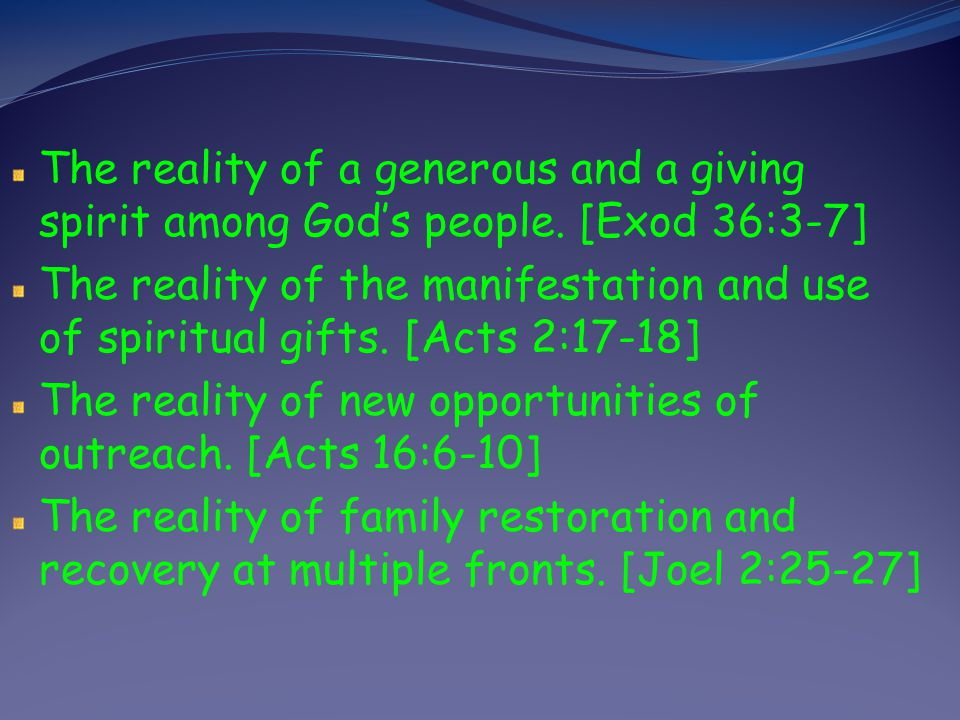 The reality of a generous and a giving spirit among God's people