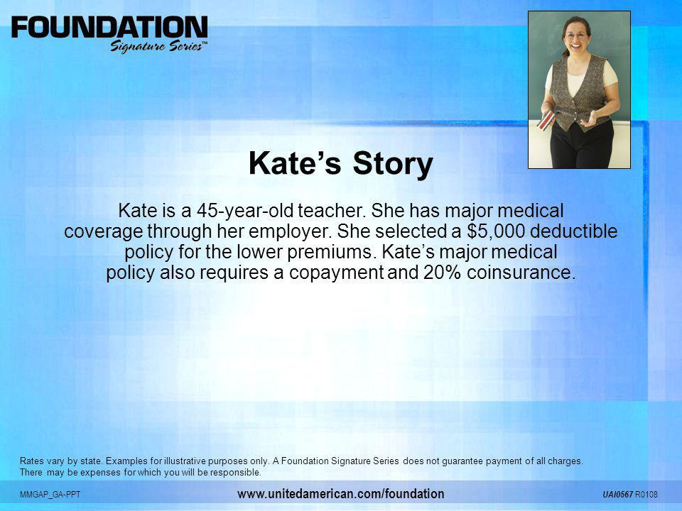 Kate's Story Kate is a 45-year-old teacher. She has major medical