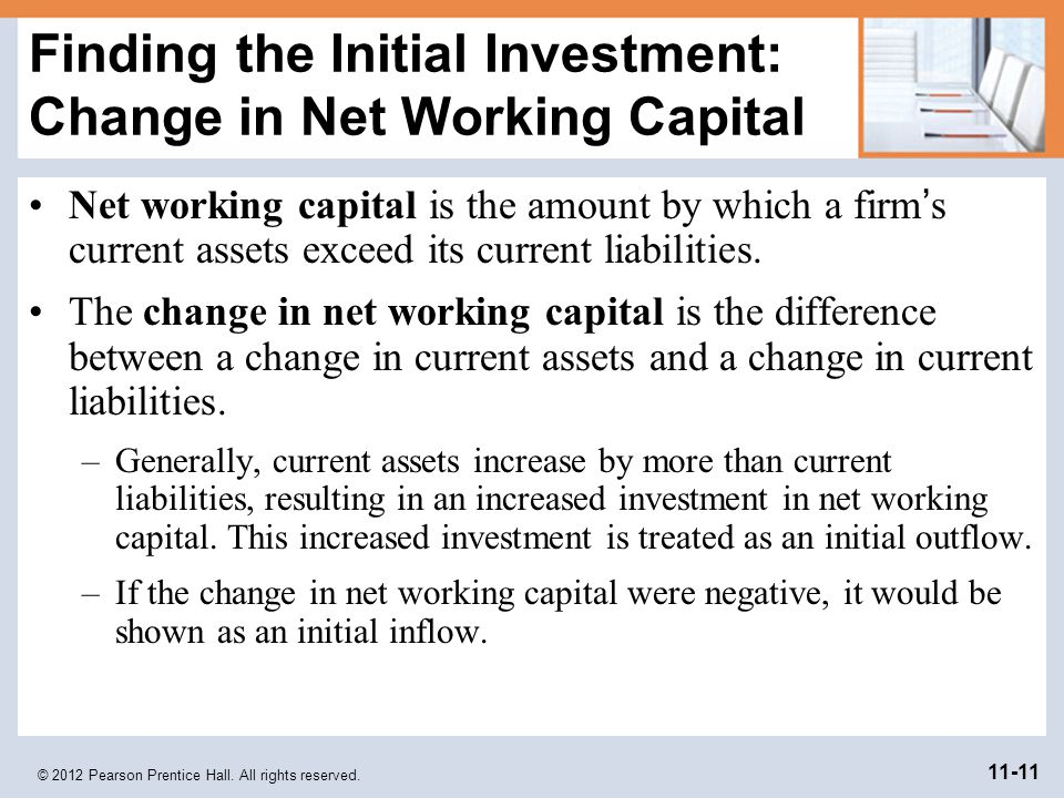 Finding the Initial Investment: Change in Net Working Capital