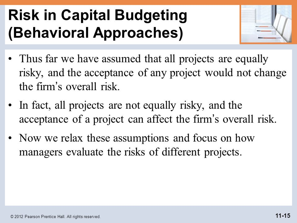 Risk in Capital Budgeting (Behavioral Approaches)