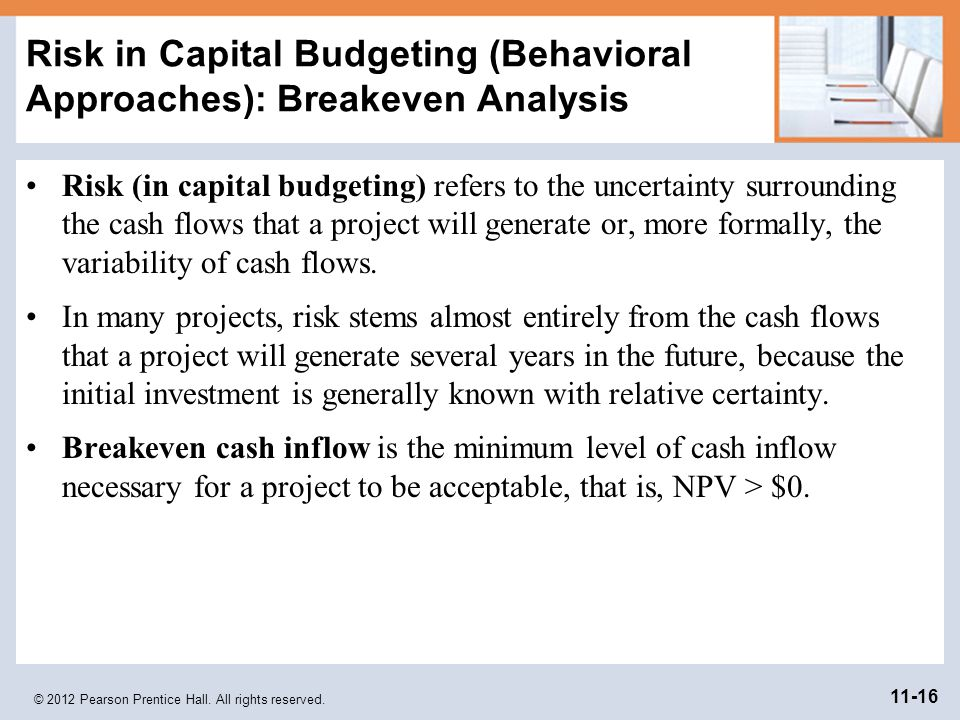 Risk in Capital Budgeting (Behavioral Approaches): Breakeven Analysis