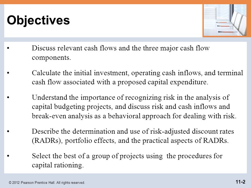 Objectives Discuss relevant cash flows and the three major cash flow components.