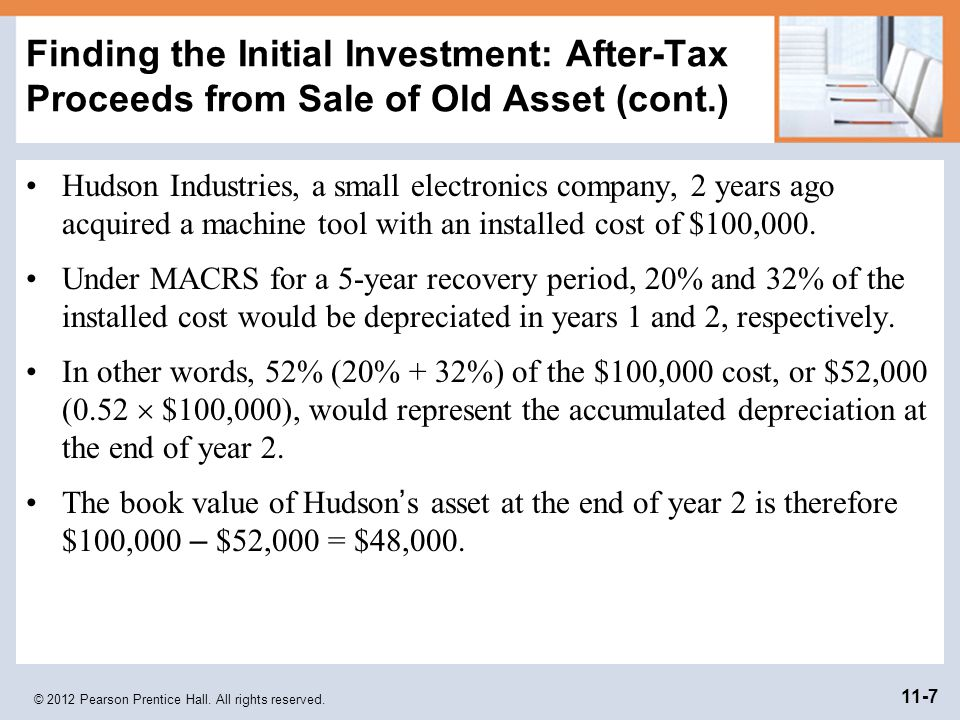 Finding the Initial Investment: After-Tax Proceeds from Sale of Old Asset (cont.)