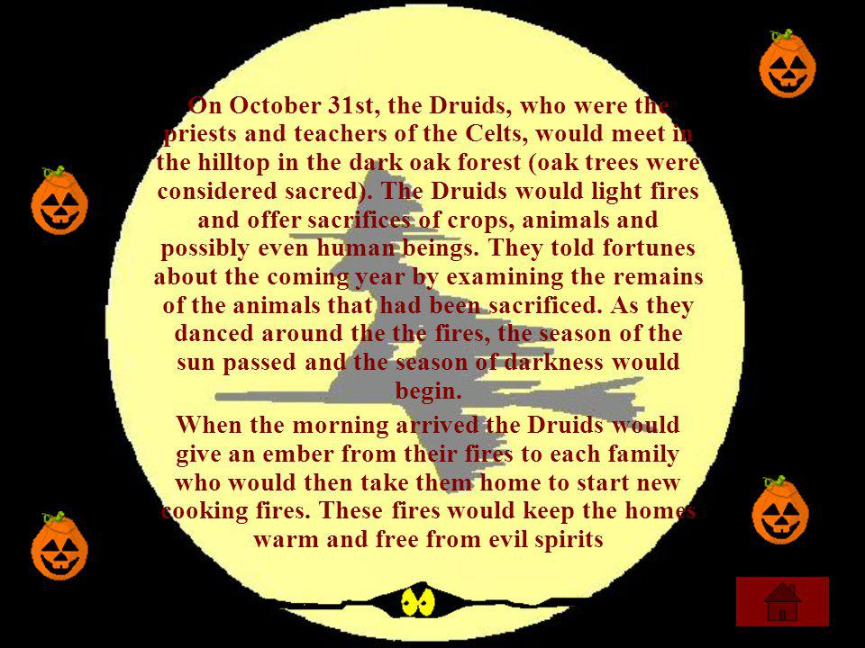 On October 31st, the Druids, who were the priests and teachers of the Celts, would meet in the hilltop in the dark oak forest (oak trees were considered sacred). The Druids would light fires and offer sacrifices of crops, animals and possibly even human beings. They told fortunes about the coming year by examining the remains of the animals that had been sacrificed. As they danced around the the fires, the season of the sun passed and the season of darkness would begin.
