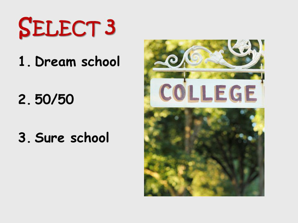 Select 3 Dream school 50/50 Sure school