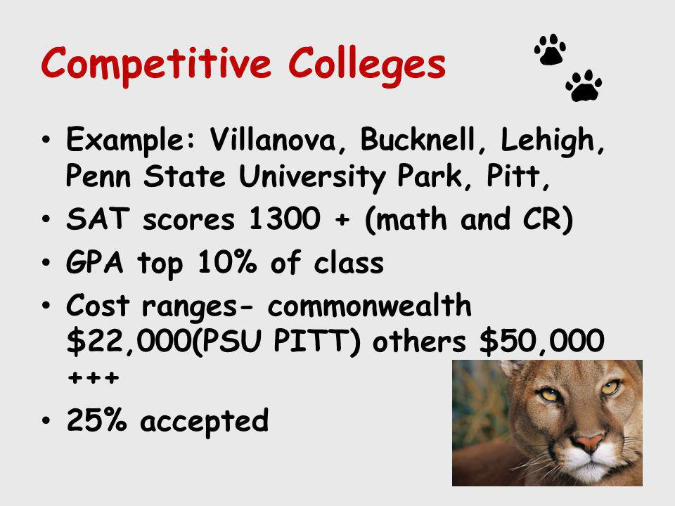 Competitive Colleges Example: Villanova, Bucknell, Lehigh, Penn State University Park, Pitt, SAT scores 1300 + (math and CR)