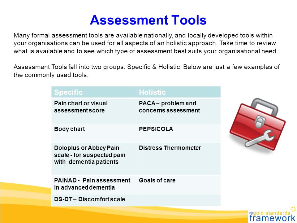 Assessment Tools Specific Holistic