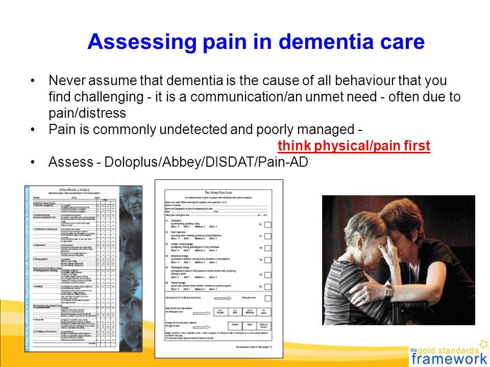 Assessing pain in dementia care