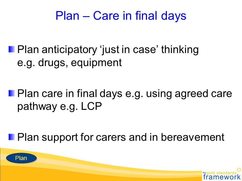 Plan – Care in final days