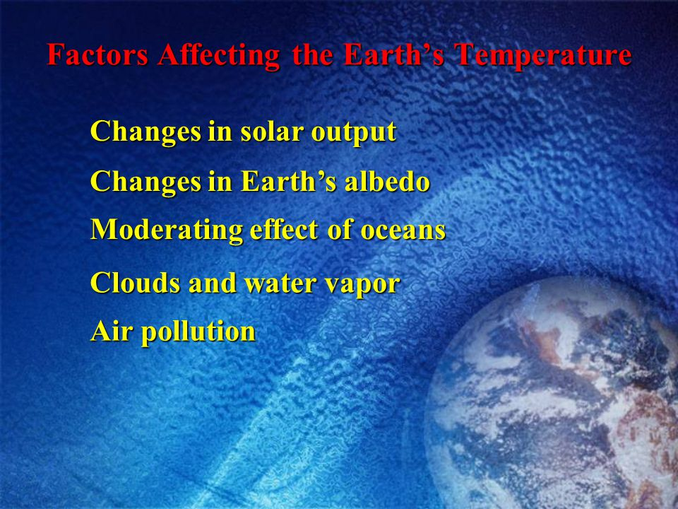 Factors Affecting the Earth's Temperature