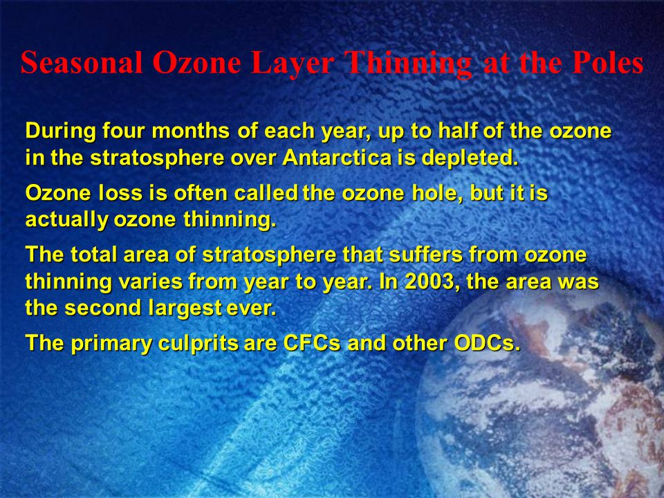 Seasonal Ozone Layer Thinning at the Poles