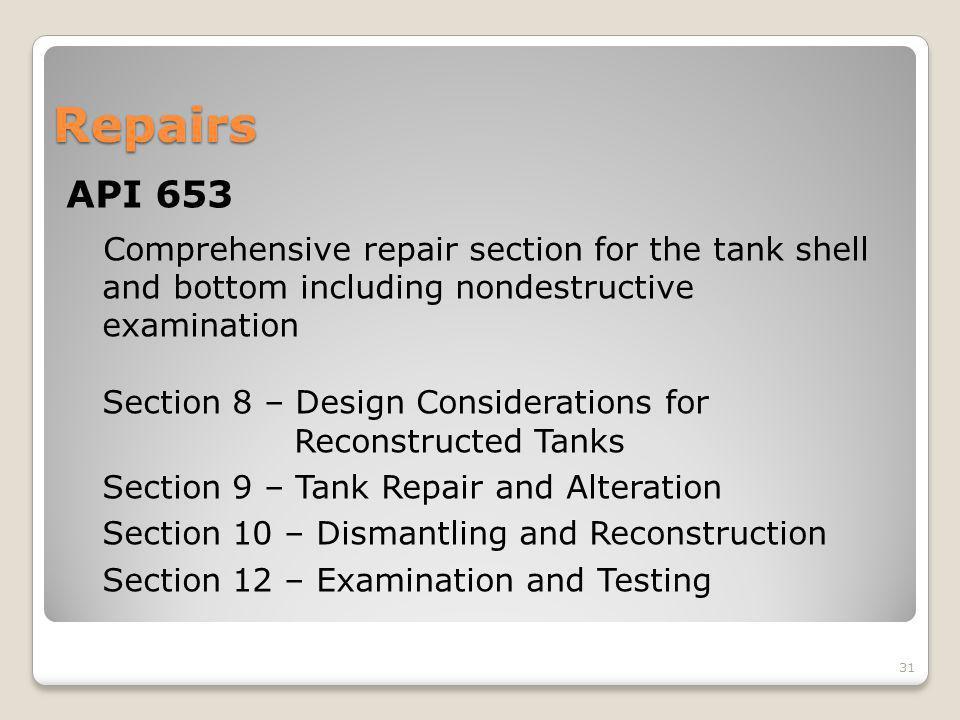 Repairs API 653. Comprehensive repair section for the tank shell and bottom including nondestructive examination.