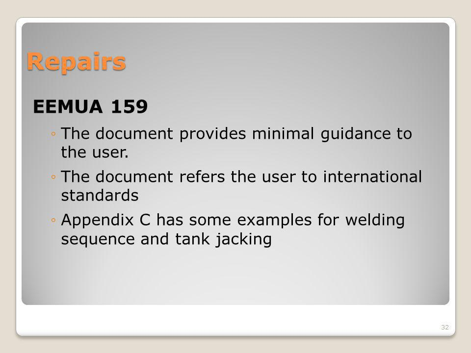 Repairs EEMUA 159 The document provides minimal guidance to the user.