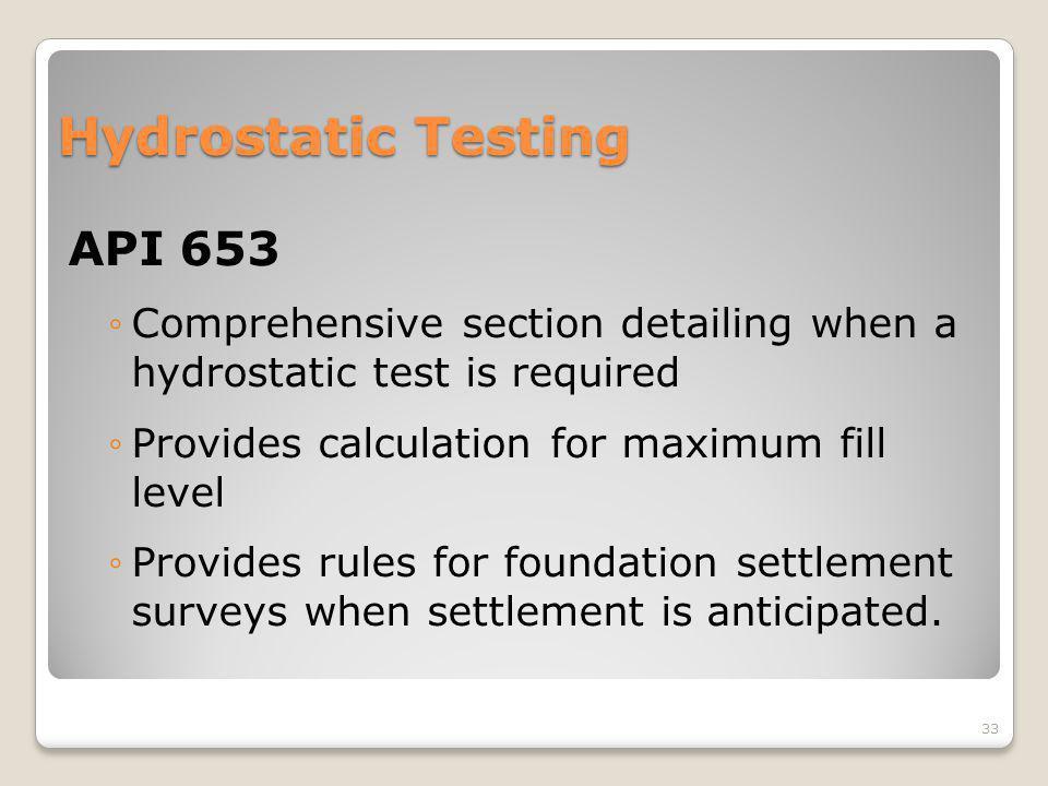 Hydrostatic Testing API 653