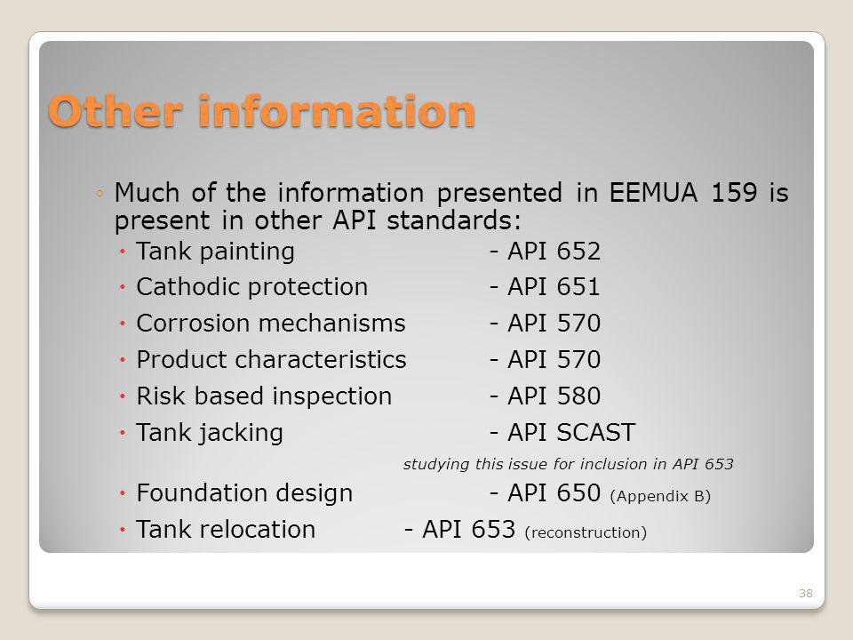 Other information Much of the information presented in EEMUA 159 is present in other API standards: