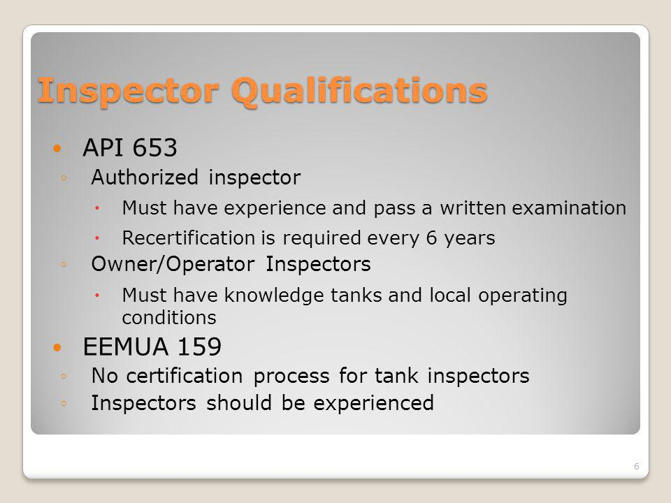 Inspector Qualifications