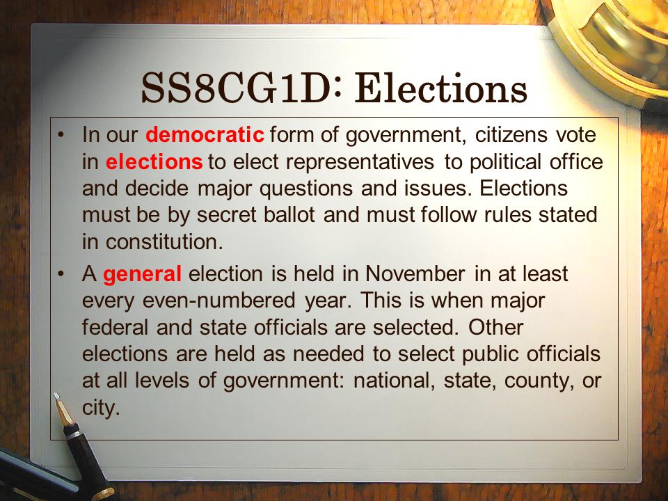 SS8CG1D: Elections
