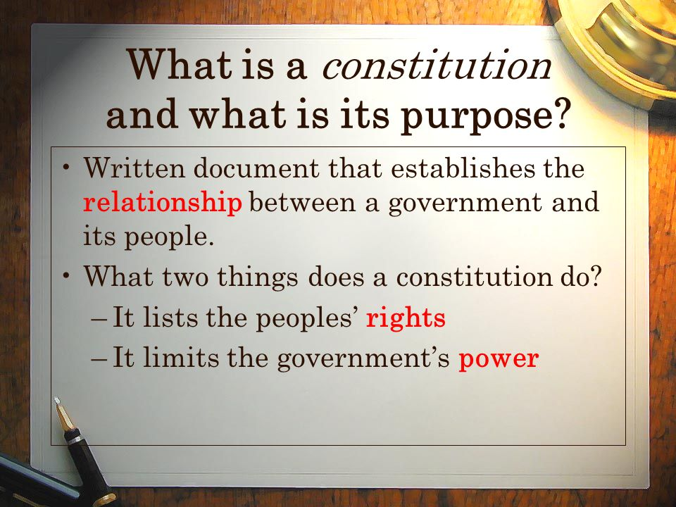 What is a constitution and what is its purpose