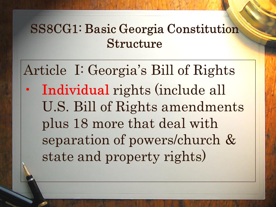 SS8CG1: Basic Georgia Constitution Structure