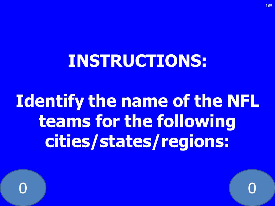 INSTRUCTIONS: Identify the name of the NFL teams for the following cities/states/regions: