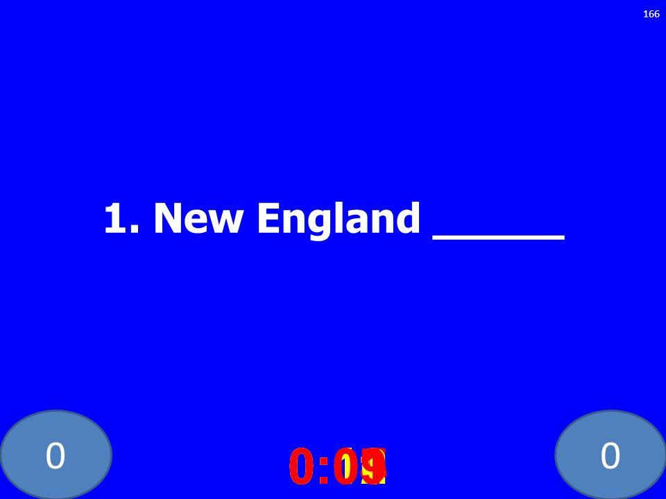 1. New England _____ 0:10 0:11 0:12 0:01 0:09 0:08 0:07 0:02 0:03 0:04 0:05 0:06