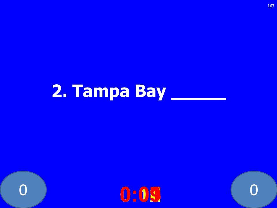 2. Tampa Bay _____ 0:10 0:11 0:12 0:01 0:09 0:08 0:07 0:02 0:03 0:04 0:05 0:06
