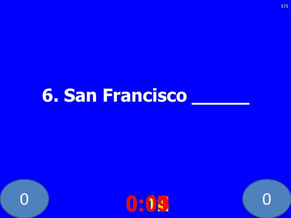 6. San Francisco _____ 0:10 0:11 0:12 0:01 0:09 0:08 0:07 0:02 0:03 0:04 0:05 0:06