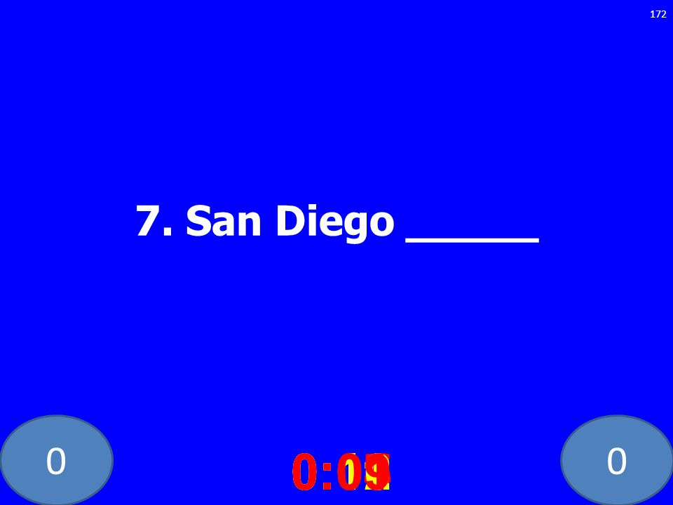 7. San Diego _____ 0:10 0:11 0:12 0:01 0:09 0:08 0:07 0:02 0:03 0:04 0:05 0:06