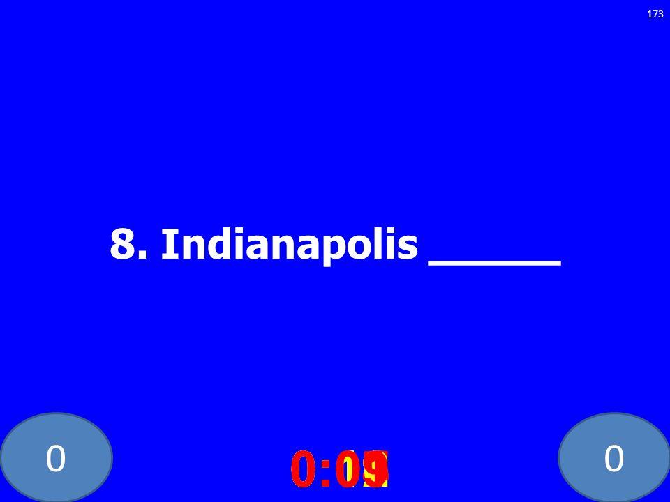 8. Indianapolis _____ 0:10 0:11 0:12 0:01 0:09 0:08 0:07 0:02 0:03 0:04 0:05 0:06