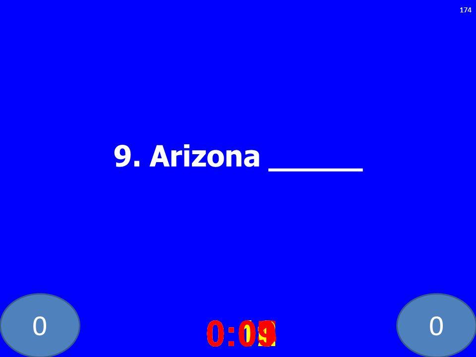 9. Arizona _____ 0:10 0:11 0:12 0:01 0:09 0:08 0:07 0:02 0:03 0:04 0:05 0:06