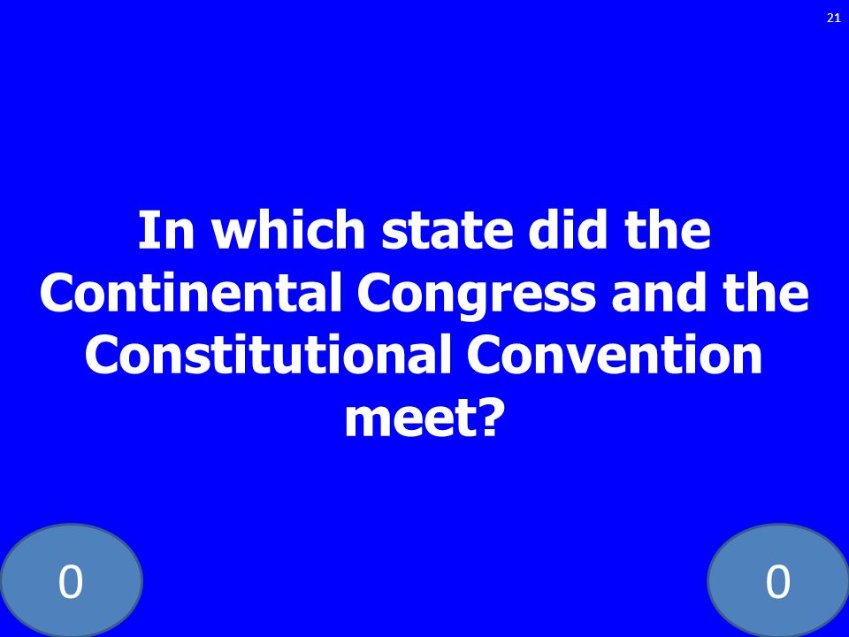 In which state did the Continental Congress and the Constitutional Convention meet