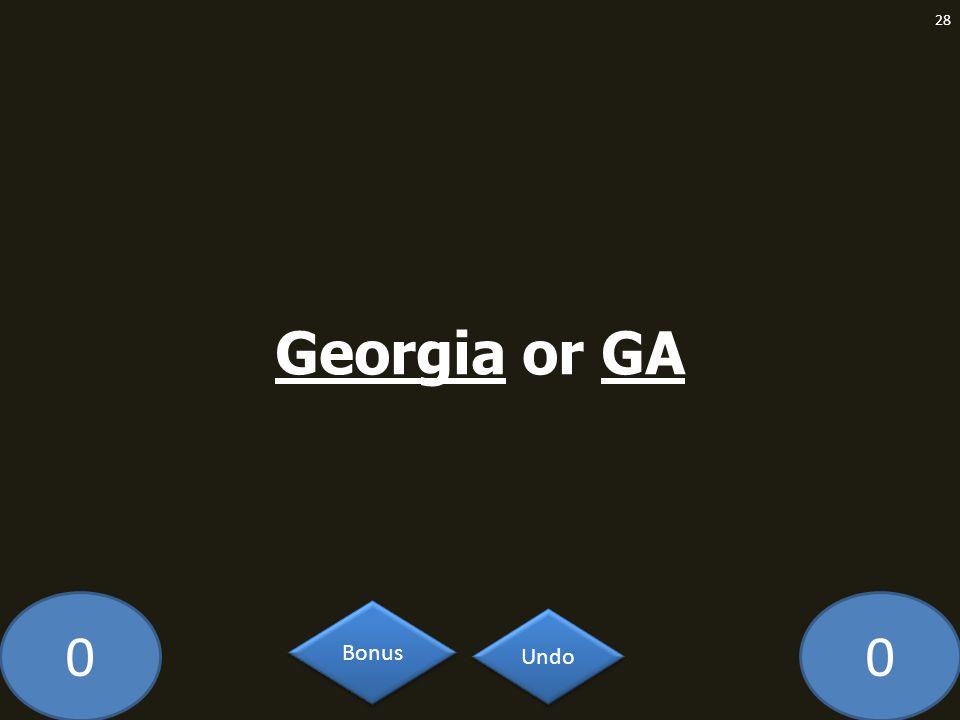 Georgia or GA MA-609-LAW Undo Bonus