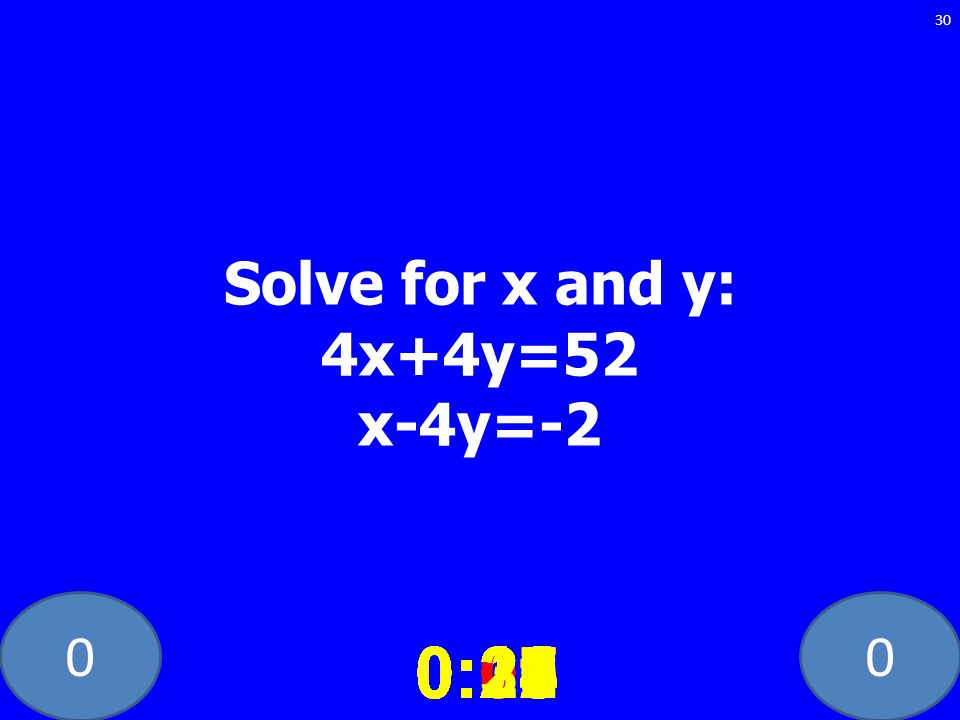 Solve for x and y: 4x+4y=52 x-4y=-2