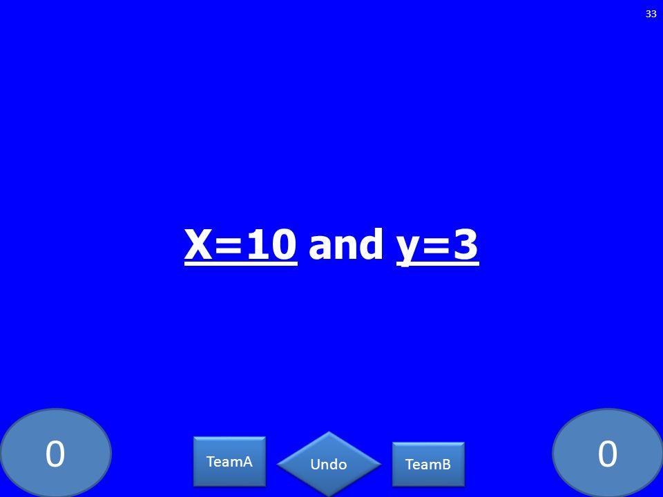 X=10 and y=3 TeamA TeamB Undo