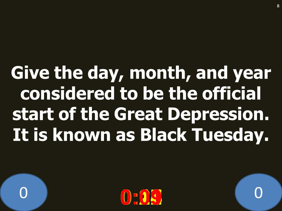 Give the day, month, and year considered to be the official start of the Great Depression. It is known as Black Tuesday.