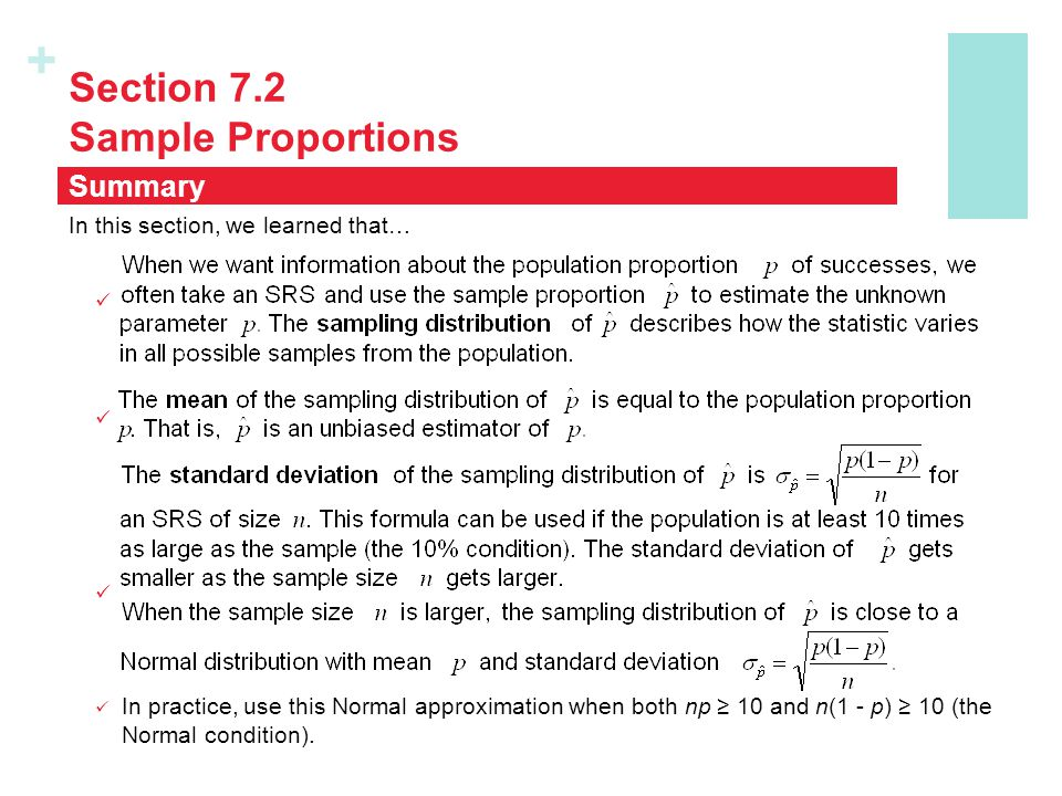 Section 7.2 Sample Proportions