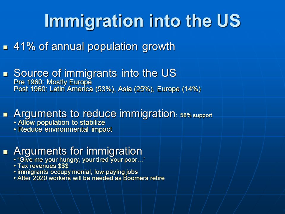 Immigration into the US