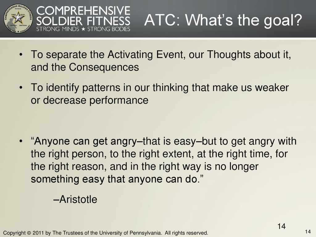 Block Five ATC: What's the goal To separate the Activating Event, our Thoughts about it, and the Consequences.