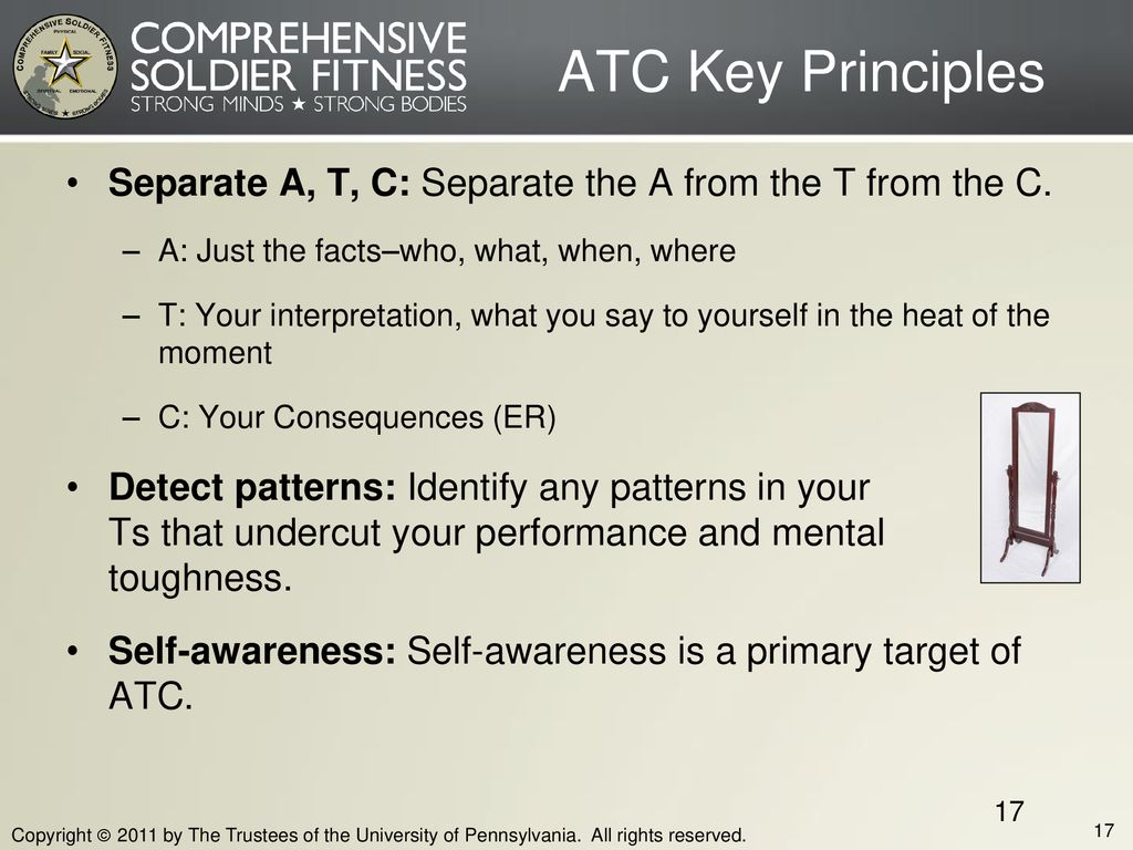 Block Five ATC Key Principles. Separate A, T, C: Separate the A from the T from the C. A: Just the facts–who, what, when, where.