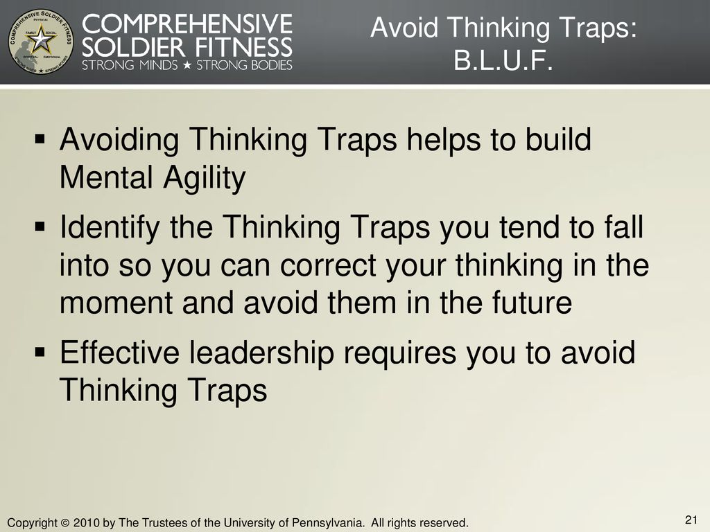 Avoid Thinking Traps: B.L.U.F.