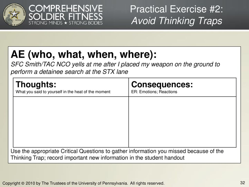 Practical Exercise #2: Avoid Thinking Traps